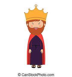 colorful king with crown and beard