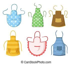 Colorful kitchen aprons set