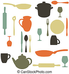 colorful kitchen pattern,  illustration