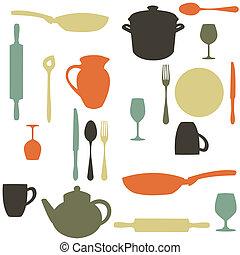 colorful kitchen pattern,  illustration