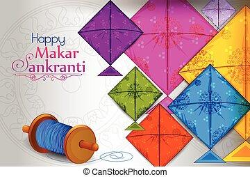 Happy Makar Sankranti - Colorful kite flying for Happy Makar...