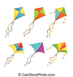 Colorful Kite Set. Vector