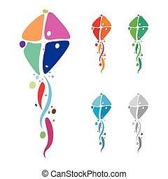 Colorful kites emblem design