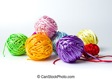 Colorful knitting thread balls