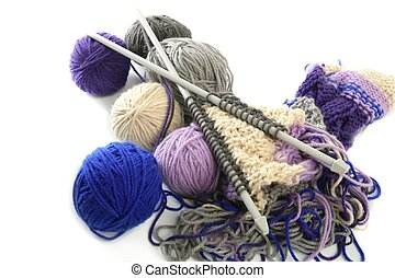 knitting tools with wool thread balls - colorful knitting...