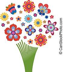 colorful květovat, uspořádání, do, ta, forma, o, jeden, kytice