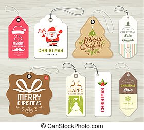 Colorful label paper merry christmas concept design on gray...