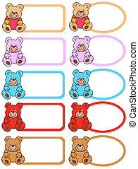labels with teddy bears