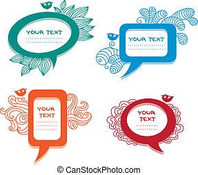 Colorful labels/speech bubbles set