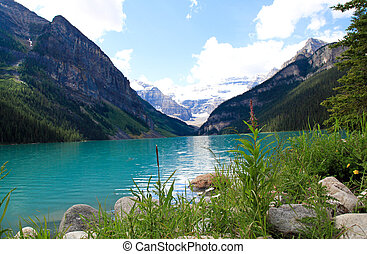 Lake Louise and snow capped mountains