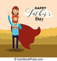 colorful landscape background with dad super hero and girl on the fathers day