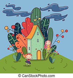 Colorful landscape. Fairytale house with windmill on roof, forest with different trees behind him. Cute fairies characters having fun outdoors. Hand drawn vector