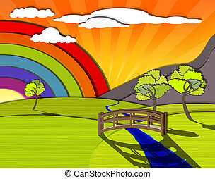 Idyllic colorful landscape, rainbow behind the green hills, eps10 vector