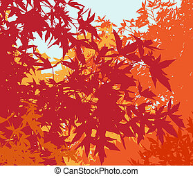 Colorful landscape of automn foliage - Vector illustrationThe different graphics are on separate layers so they can easily be moved or edited individually