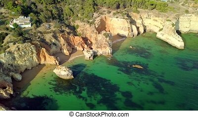Colorful landscape of ocean coast - Shot taken with drone of...