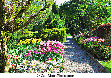 Colorful landscaped formal garden.