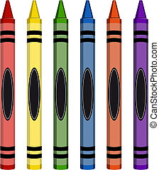 Six colorful crayons isolated on white background