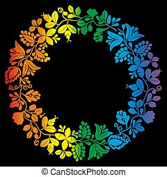 Colorful laurel wreath vector frame isolated on black background