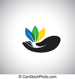 colorful leaf icons & woman's hand - conservation concept...