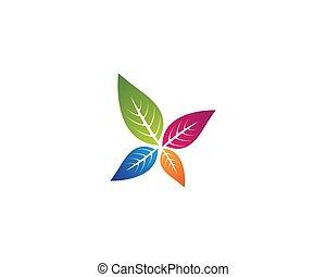Colorful leaf logo illustration
