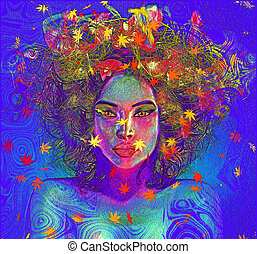 Colorful leaves and swirls enhance - Colorful leaves and...
