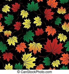 colorful leaves dark fall seamless pattern eps10