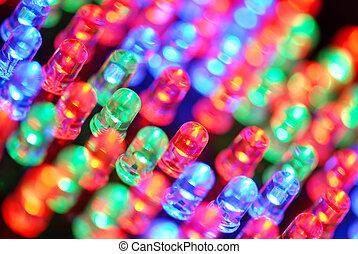 Colorful LED background with dozens transparent LEDs.