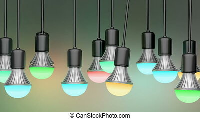 Colorful LED light bulbs in the dark room