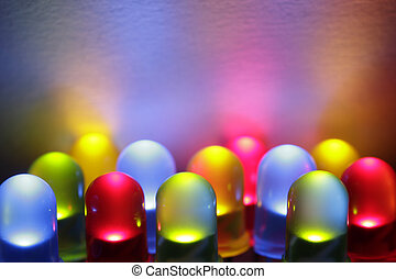 Colorful LED - Twelve colorful LED lights in red, yellow, ...
