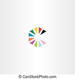 colorful letter c with triangles logo vector