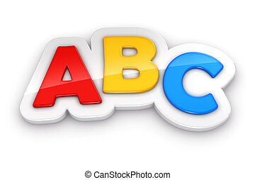 Colorful letters ABC on white background