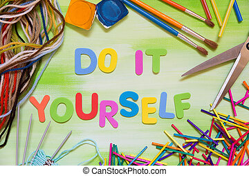colorful letters and handcraft supplies, do it yourself