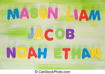 colorful letters, favorite boy´s names, mason, liam, jacob,...