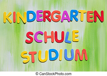 colorful letters, german words, concept Education - colorful...