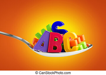 colorful letters in a tablespoon on an orange background