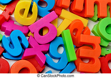 Colorful letters on background