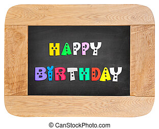 colorful letters with happy birthday
