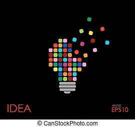 Colorful light bulb, idea concept