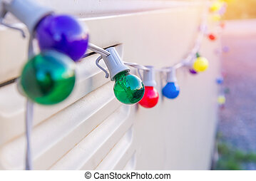 Colorful Light Bulbs decorate on white wall