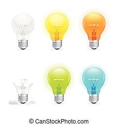 Colorful Light Bulbs Set. Vector