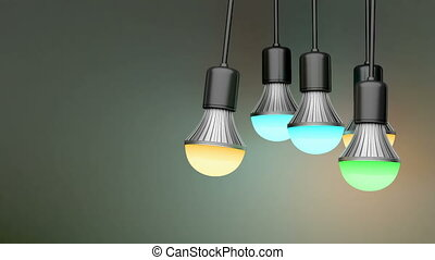 Colorful light bulbs in the dark room