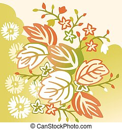 Colorful light floral background with leaves and flowers