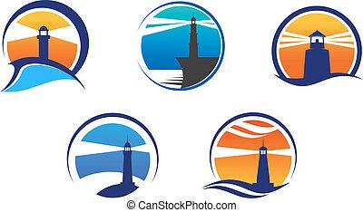 Colorful lighthouse symbols set