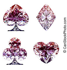 Colorful lilac Diamond Card Suits isolated
