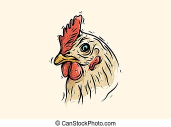 Colorful line art drawing of rooster