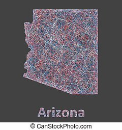 Colorful line art map of Arizona state - Colorful line art...