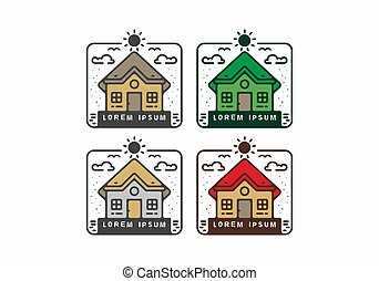 Colorful line art of house set
