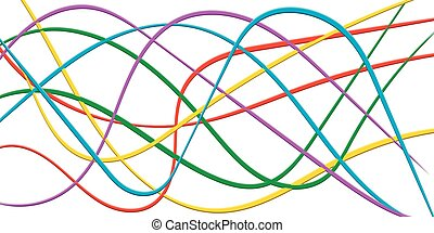 Colorful line Strips Ribbon 3D, abstract curving rainbow wave, vector Colorful bright background cable, rapid speed
