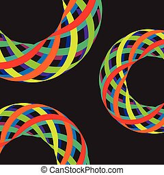 Colorful lines in 3D on black background, vector illustration