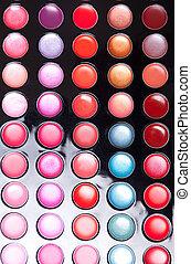 Colorful lip gloss palette, studio shot